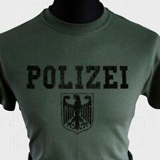 POLIZEI T Shirt German Police Eagle Logo Retro Vintage Green