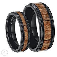 His & Hers Black Titanium Wedding Ring Band Set (Millgrain with Koa Wood Inlay)