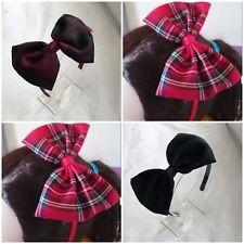 "5"" Large Tartan Fabric Bow Hair Band Headband Aliceband Girls"