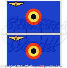 BELGIEN Luftwaffe Flagge BELGISCHE Fahne 75mm Vinyl Sticker Aufkleber x2
