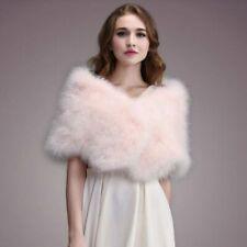 Casual Solid Ostrich Feather Shawl Wrap Bride Wedding Stole Turkey Fur Cloak