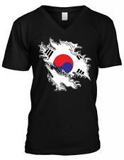 Republic of Korea Shred Flag Taegeukgi Trigrams Korean Pride Mens V-neck T-shirt