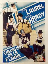 PLAQUE ALU REPRODUISANT UNE AFFICHE CINEMA LAUREL HARDY CHEVALIERS DE LA FLEMME