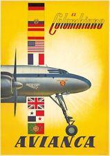 Poster Vintage aerolínea colombiana A3 impresión