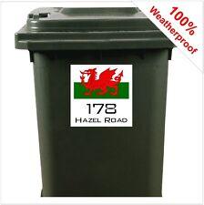 Gallese Bandiera Personalizzato Bidone Dei Rifiuti con Ruote Identificazione