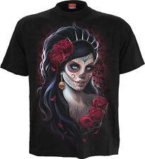 Spiral Direct DÍA DE LOS MUERTOS, Frente Estampado Camiseta NEGRO | rosas |