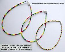 Adjustable Seed Bead Anklet Bracelet Rasta Festival Boho Summer Hippy Love