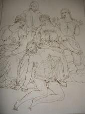 "GRAVURE XVIIIe "" MICHEL ANGE "" Le Christ au tombeau"