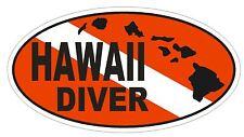 HAWAII SCUBA DIVING Oval Bumper Sticker or Helmet Sticker D1842 Euro Oval
