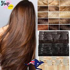 "Human Hair Extensions Clip In 100% Remy 16"" 18"" 20"" 22"" Black Dark Blonde Red AU"