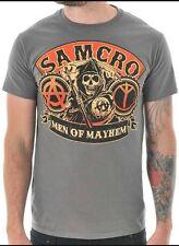 Sons of anarchy men of mayhem gris t shirt tee officiel outerwear samcro s 2xl