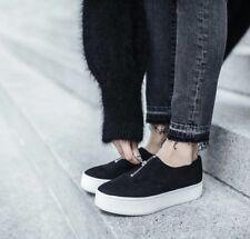 NIB Vince Warner Platform Zip Up Slip On Sneakers Black Leather $250