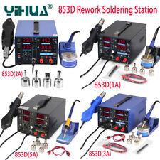 YIHUA 853D 1A 2A 3A 5A LCD BGA Rework Soldering Station Hot Air Gun Solder Iron