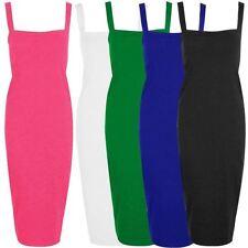 Neuf Pour Femmes Long Moulant Col Carré Lanière Large Robe Crayon 8-22