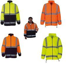 Men's Hi Vis Visibility Heavyweight Fleece Jacket Safety Work Coat Jackets