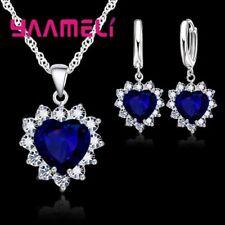 Trendy 925-sterling Silver Jewelry Set Women Charm Pendants Necklaces Earrings