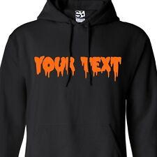 Custom Creepy Text HOODIE Personalized Scary Halloween Bloody Font Sweatshirt
