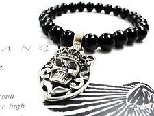 Silver Skull Charm Strech Onyx Bracelet With Black  Diamonds by Sacred Angels