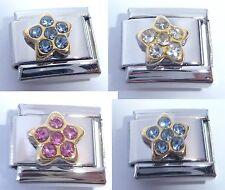 GOLD STAR w/ GEMS Italian Charm - 9mm fits Classic Bracelets - PINK CLEAR BLUE