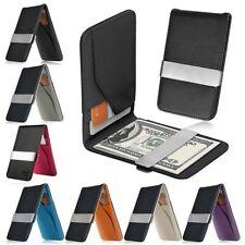 Pince à billets en cuir noir homme Slim ID carte de crédit porte-monnaie