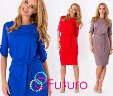 Women's Shift Dress With Belt Boat Neck 3/4 Sleeve Tunic Sizes 8-18 8986