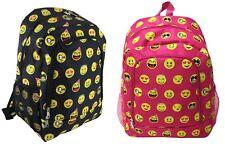 """17"""" Girls Boys School Book Bag Kids Backpack Emoji Smiley Emoticon Black or Pink"""