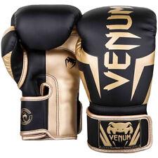 Venum Elite Skintex Leather Hook and Loop Training Boxing Gloves - Black/Gold