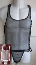 K08 Mens Sexy C-Thru Mesh Net Stretch Bodysuit Nylon/spandex
