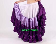 White & Purple Satin 6 Yard Tiered Gypsy Skirt Belly Dance Ruffle Jupe Flamenco