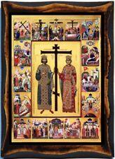 Saint Constantine the Great and Saint Helena(empress)Handmade wood icon plaque