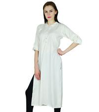 Bimba Women Straight Kurta Long Kurti 3/4 Sleeve White Top Ethnic Indian Rayon