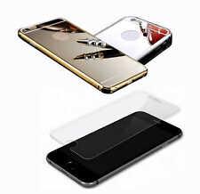 Spiegel Aluminium Metall Bumper Case und Hartglas H9 Temperd Glass Etue Cover