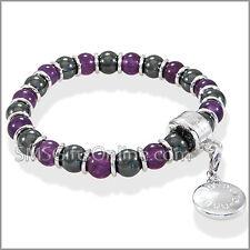 Magnetic Hematite Silver Tone with Purple Amethyst Charm Bracelet / Bangle