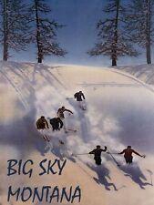 BIG SKY MONTANA Vacation Ski Winter Sport Mountain Vintage Poster Repo FREE S/H