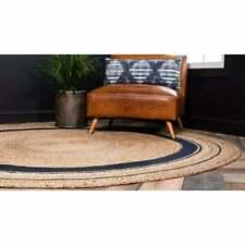 Various Size Natural Braided Rugs Jute Strip Round Area Rug Floor Mat Reversible
