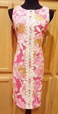 Jessica J Howard Pink Floral Crochet Front Trim Stretch Knit Sheath Dress - $90