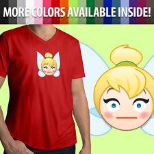 Tinker Bell Tink Peter Pan Fairy Blush Embarrassed Emoji Mens Tee V-Neck T-Shirt
