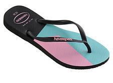 Havaianas Women`s Flip Flops Slim Color Block Sandals Black w Rose/Serenity NWT