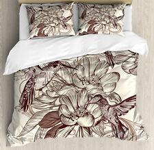 Hummingbirds Duvet Cover Set with Pillow Shams Bird Flowers Pattern Print