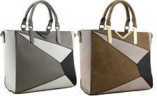 H01 - Ladies Block Designer Tote Handbag - Zip Detachable Shoulder Strap Bag
