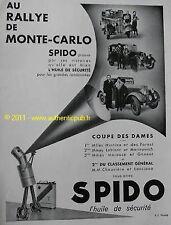 PUBLICITE SPIDO RALLYE MONTE CARDLO COUPE DAMES 1934 AD