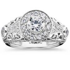 Diamond Engagement Ring 1 1/2 Carat Round Halo Solitaire 14K White Gold