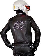Daft Punk Get Lucky Electroma Biker Genuine Leather Black Motorcycle Jacket