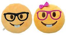 2 PACK OPTION Nerd Face and Lady Nerd Emoji Pillow Emoticon Stuffed Plush Toy