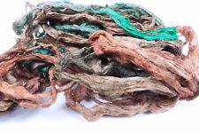 """Hand Dyed Flax Linen Fibre Tops """"Forest"""" Roving Fibers Felt Spin Weaving Vegan"""