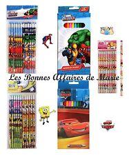 DISNEY MARVEL - PROMO jusqu'à -55% - Lot crayons Spiderman, Princess, Cars...