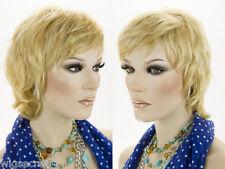 Medium Short Human Hair Wavy Straight Blonde Brunette Red Grey Wigs Shag Cut