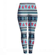 Women Winter Snowflake Nordic Tree Leggings Xmas Christmas Stretch Pants