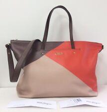 9ee3aa8c271a NWT Salvatore Ferragamo Mika Convertible Tote LG Leather Brown Beige Orange  New