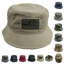 US Flag Bucket Hat USA CAMO Cap Cotton Sun Visor Outdoor Hiking Camping Fishing
